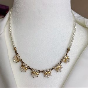 Vintage Pearl And Rhinestone Floral Necklace